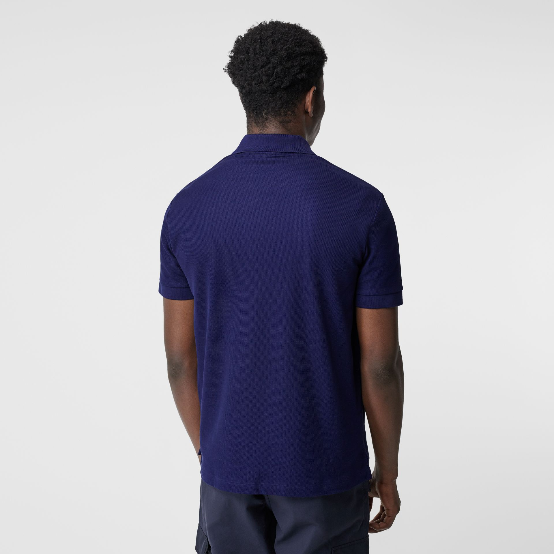 Monogram Motif Cotton Piqué Polo Shirt in Indigo - Men | Burberry - gallery image 2