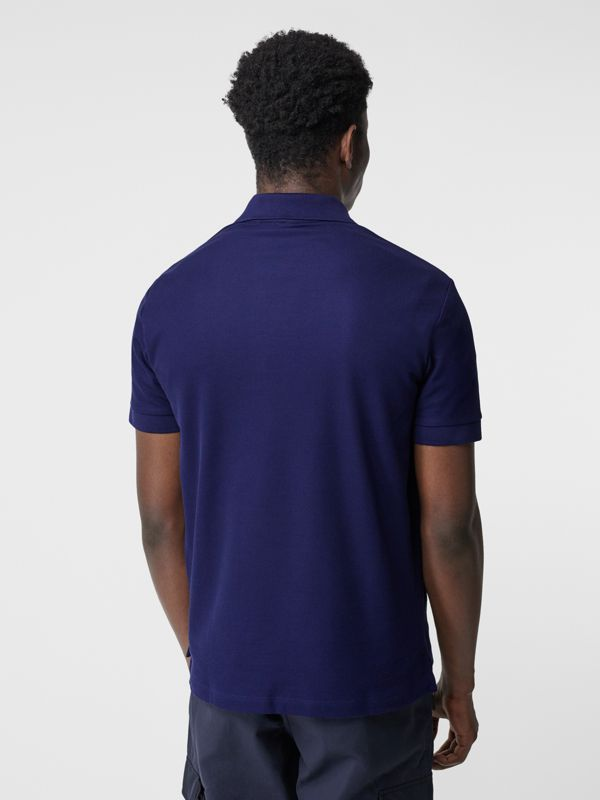 Monogram Motif Cotton Piqué Polo Shirt in Indigo - Men | Burberry - cell image 2