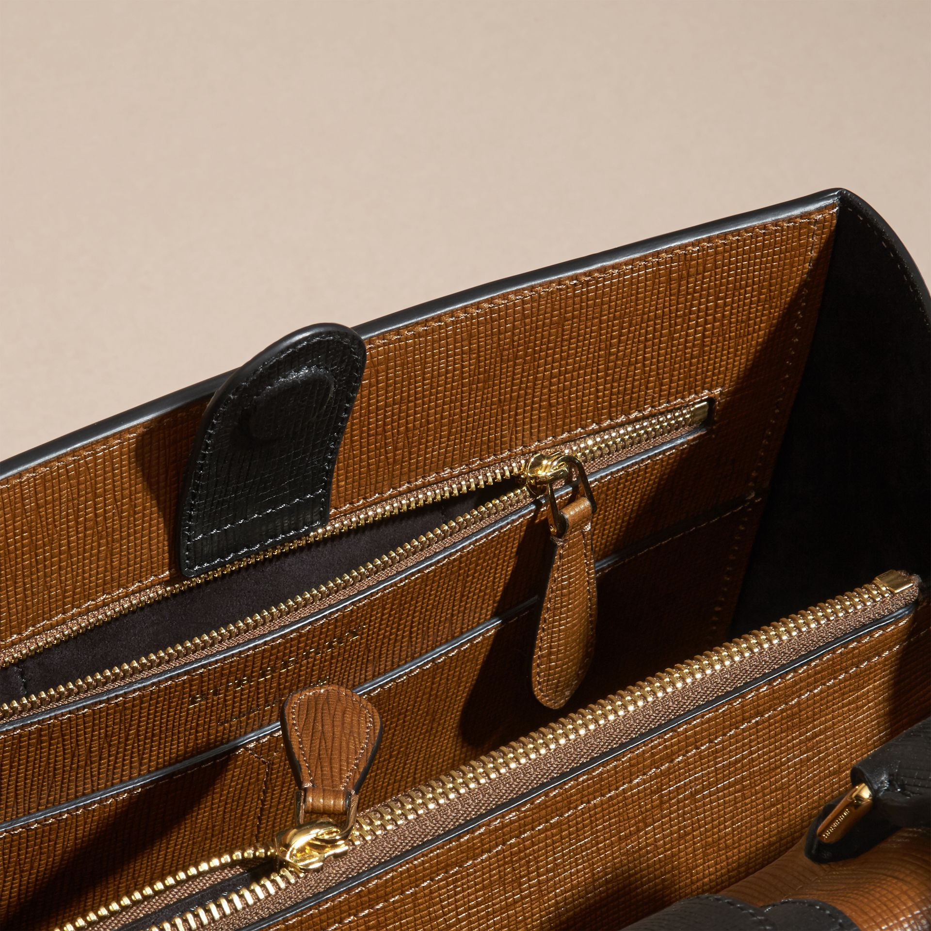 Tan The Medium Saddle Bag in Textured Bonded Leather - gallery image 6