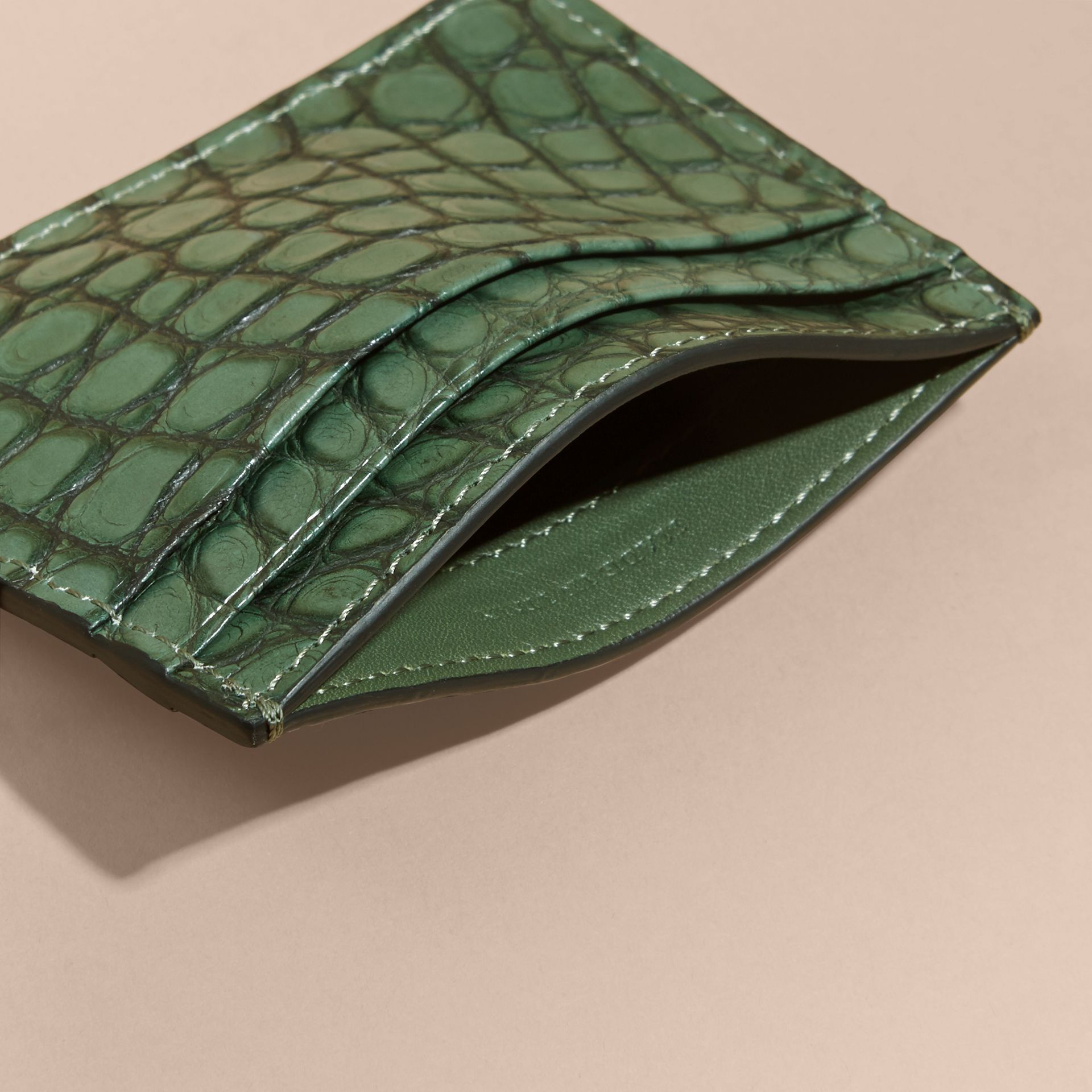 Sage Alligator Leather Card Case - gallery image 5