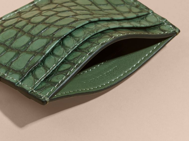 Sage Alligator Leather Card Case - cell image 4