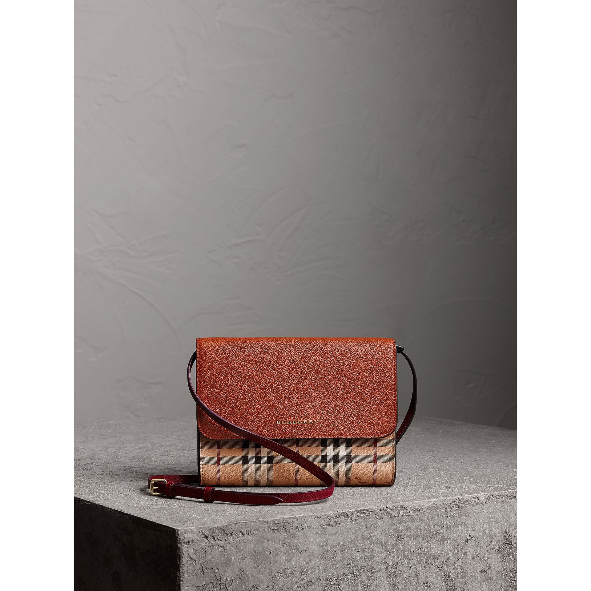 Haymarket Check and Leather Crossbody Bag in Bright Toffee/multi - Women | Burberry - gallery image 7
