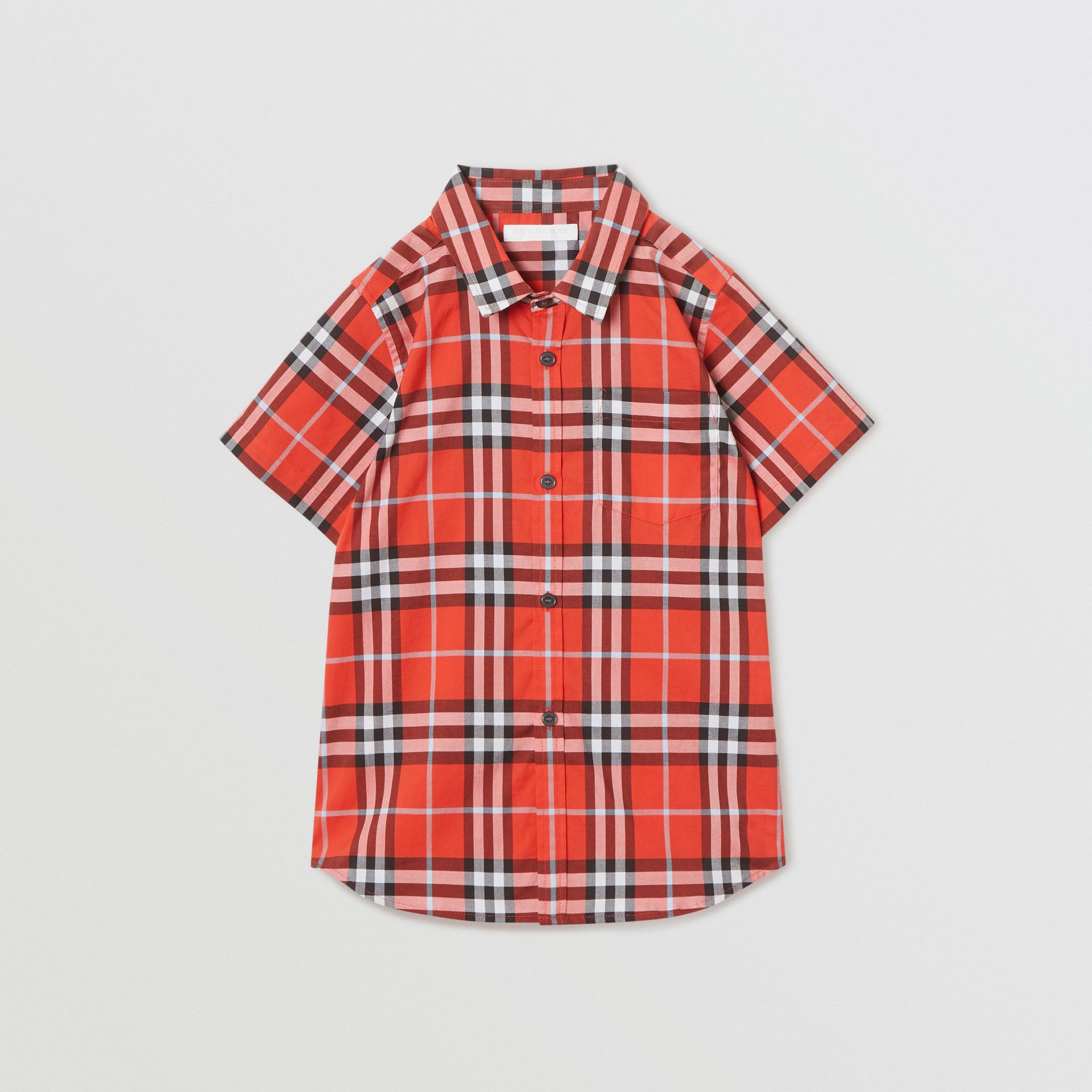 Short-sleeve Check Cotton Shirt in Orange Red | Burberry Canada - gallery image 0