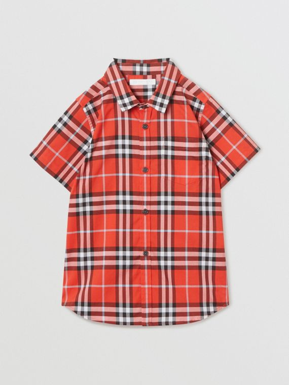 Short-sleeve Check Cotton Shirt in Orange Red