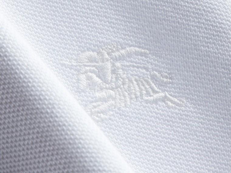 Geometric Motif Cotton Piqué Polo Shirt with Check Placket White - cell image 1
