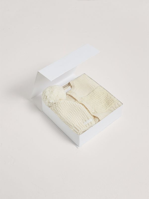 Wool Cashmere Two-piece Baby Gift Set in Natural White | Burberry - cell image 2