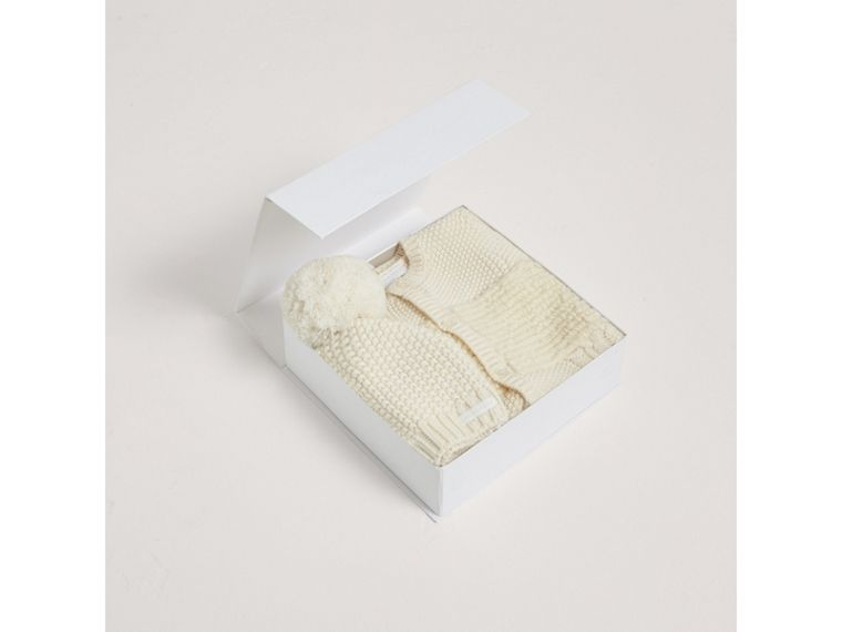 Wool Cashmere Two-piece Baby Gift Set in Natural White | Burberry United Kingdom - cell image 2