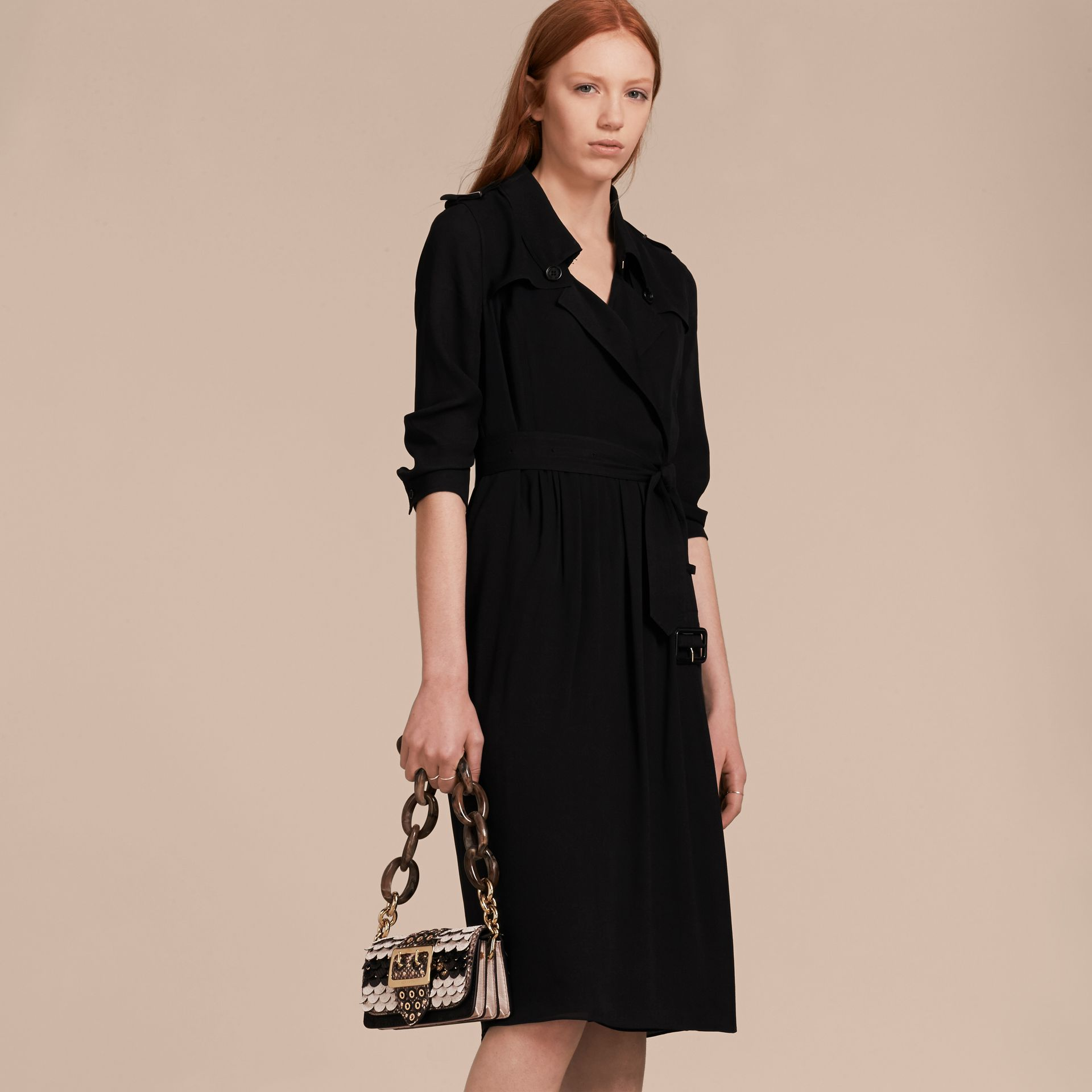 Silk Wrap Trench Dress Black - gallery image 5