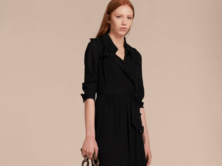 Silk Wrap Trench Dress in Black - Women | Burberry - cell image 4