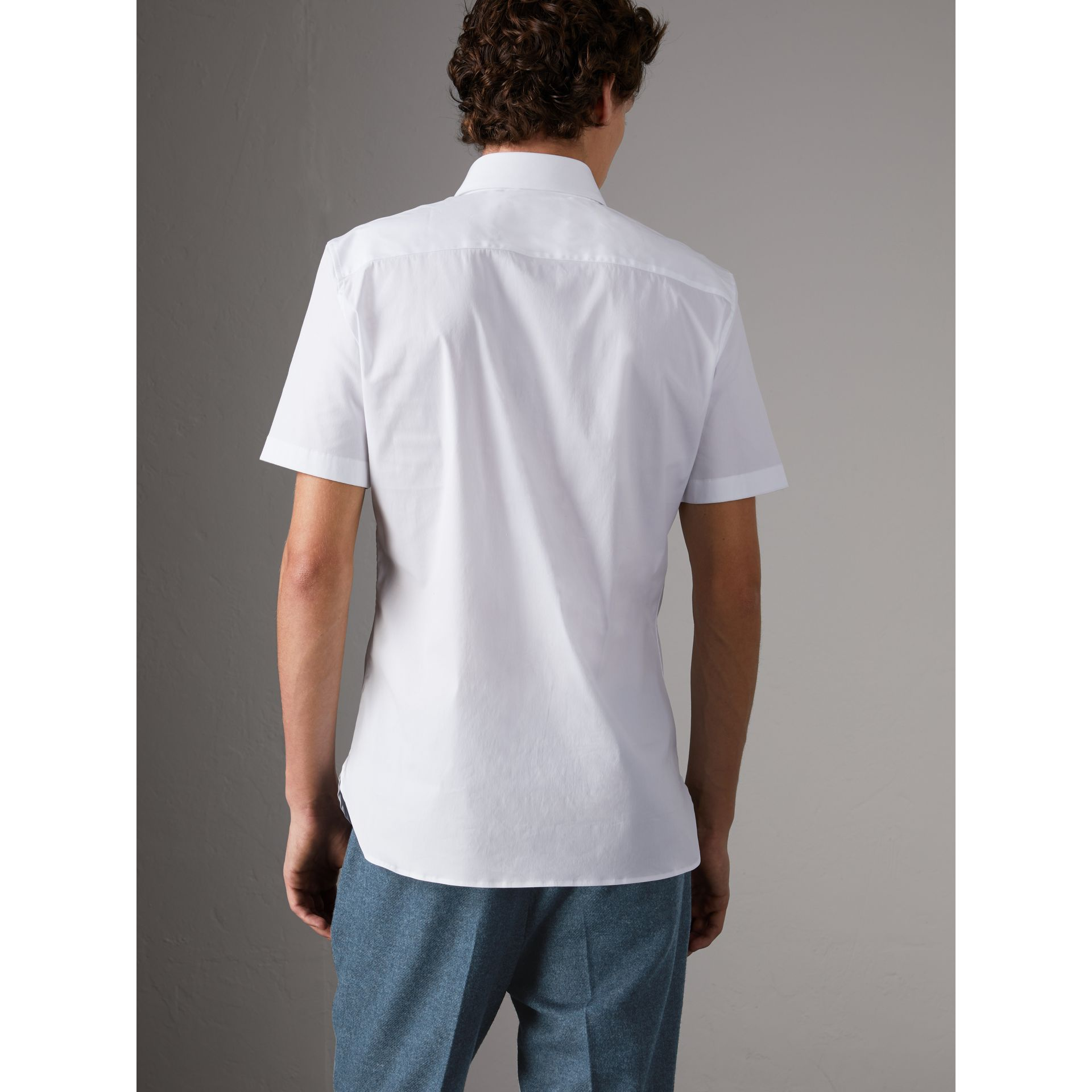 Slim Fit Short-sleeved Stretch Cotton Shirt in White - Men | Burberry - gallery image 3