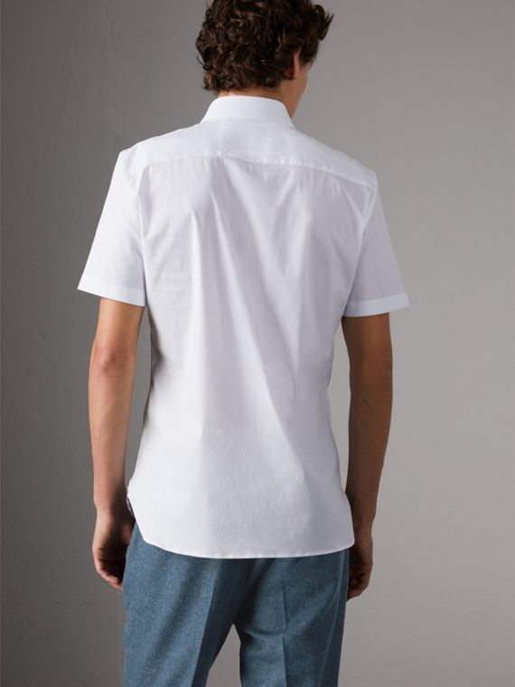 Slim Fit Short-sleeved Stretch Cotton Shirt in White - Men | Burberry - cell image 2