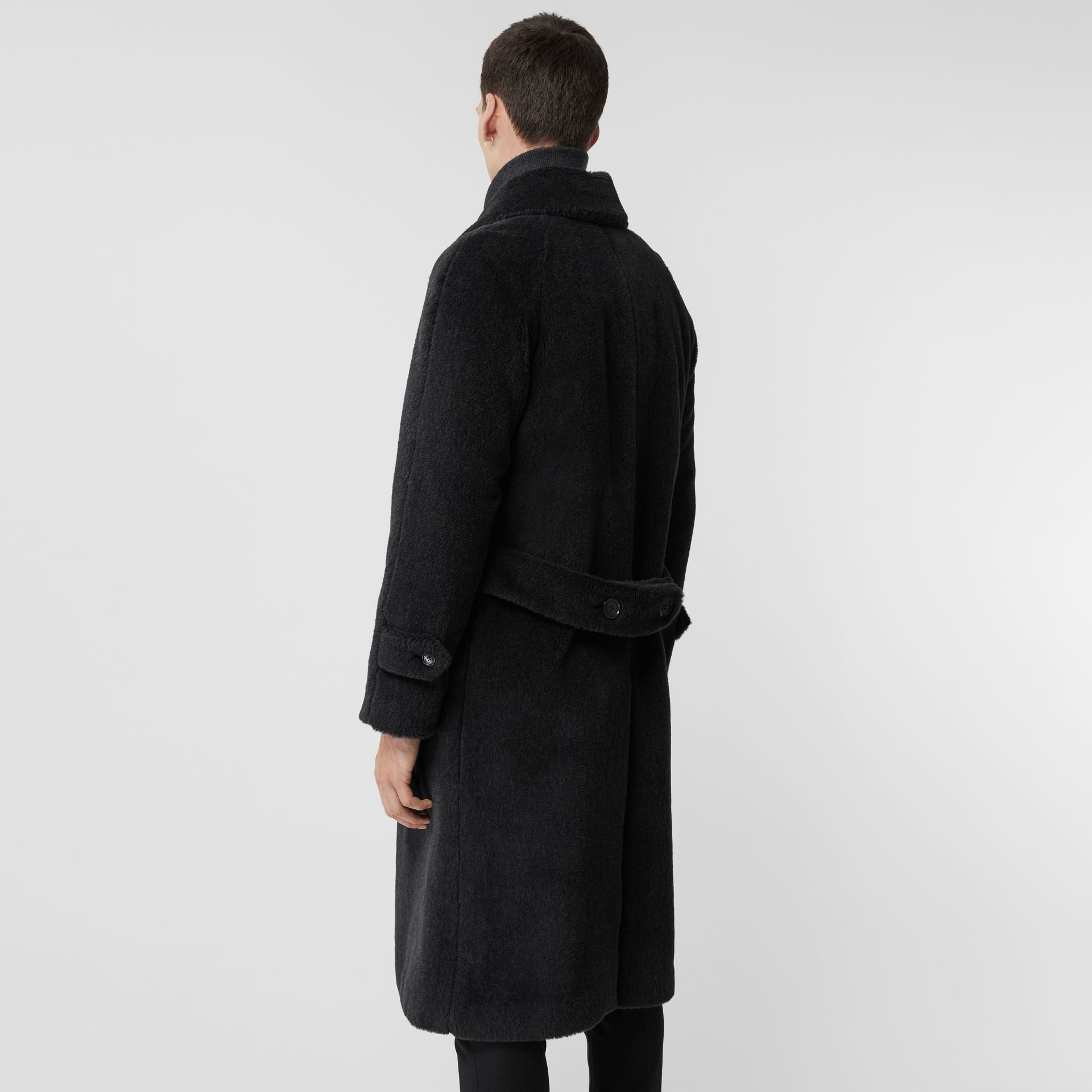 Alpaca Wool Cotton Double-breasted Coat in Charcoal - Men | Burberry - gallery image 2