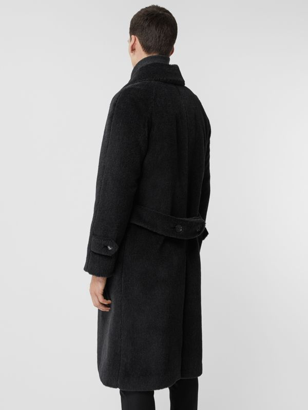 Alpaca Wool Cotton Double-breasted Coat in Charcoal - Men | Burberry - cell image 2
