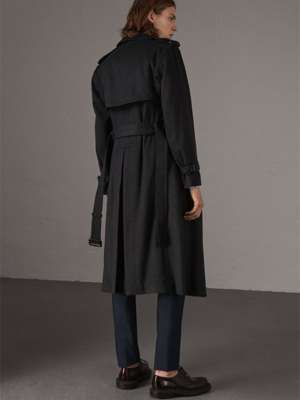 Cashmere Trench Coat in Charcoal Melange - Men | Burberry - cell image 2