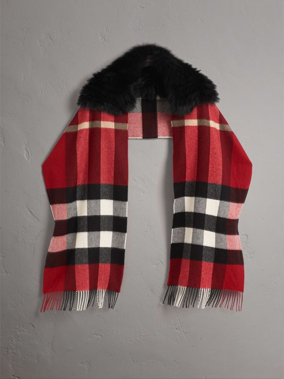 Fox Fur Trim Check Cashmere Scarf in Parade Red