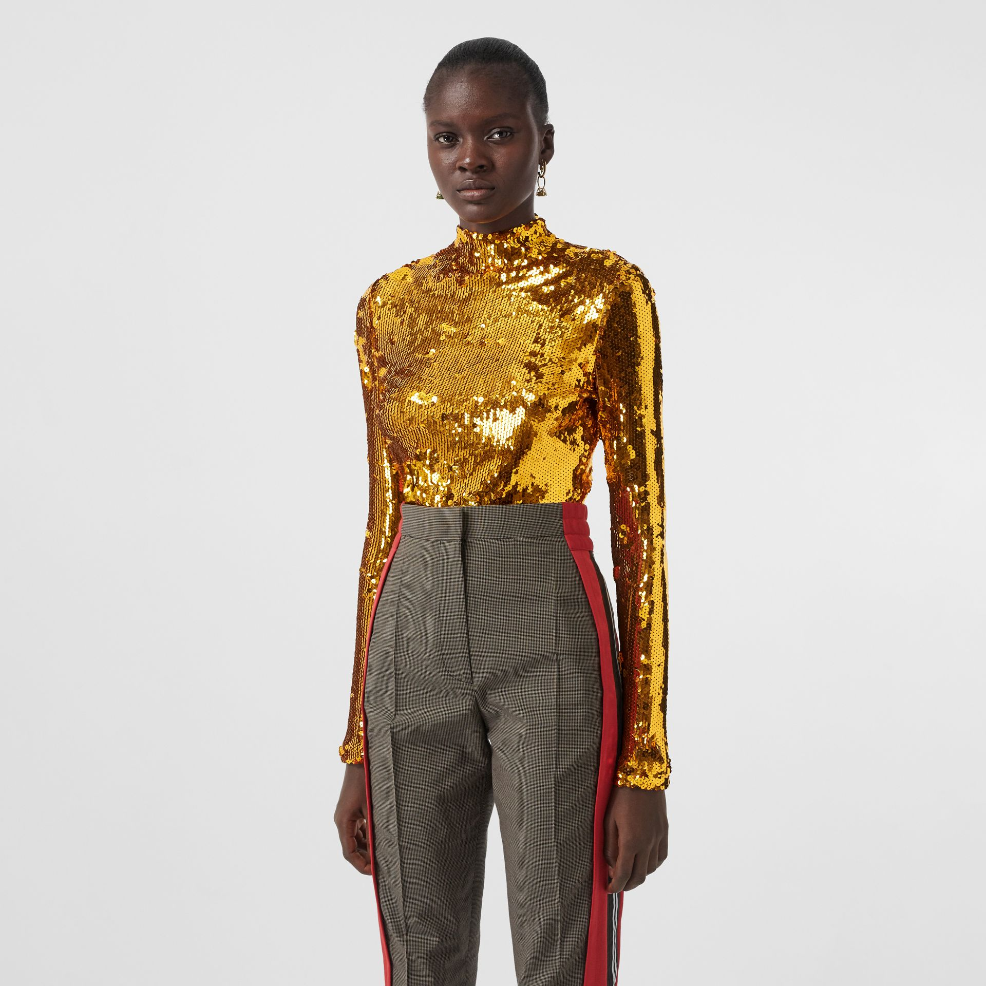 Sequinned Turtleneck Top in Gold - Women | Burberry - gallery image 0