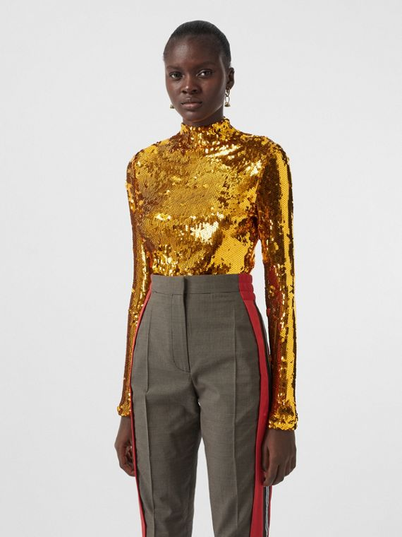 Sequinned Turtleneck Top in Gold