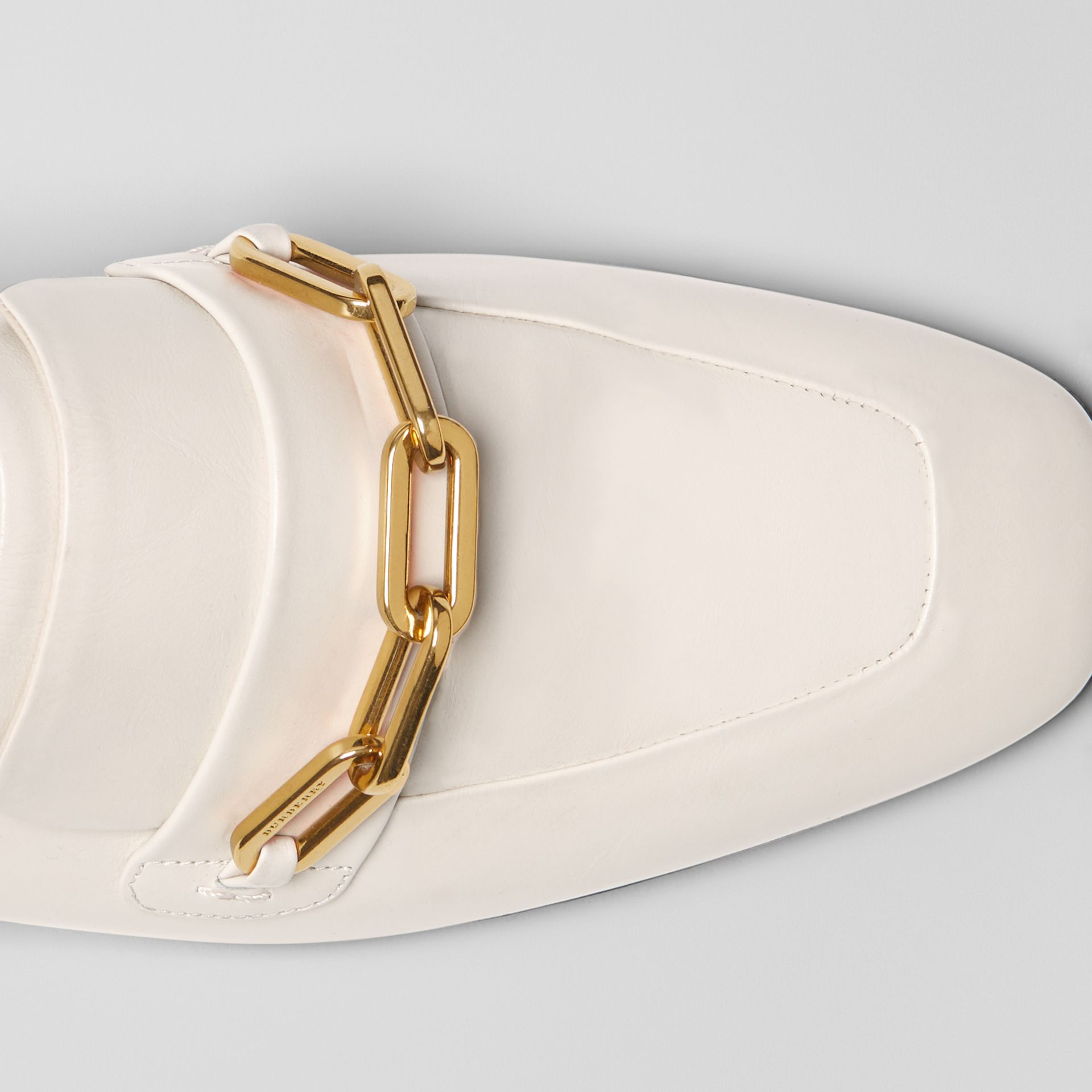 Link Detail Leather Slingback Loafers in Ash White - Women | Burberry - gallery image 1