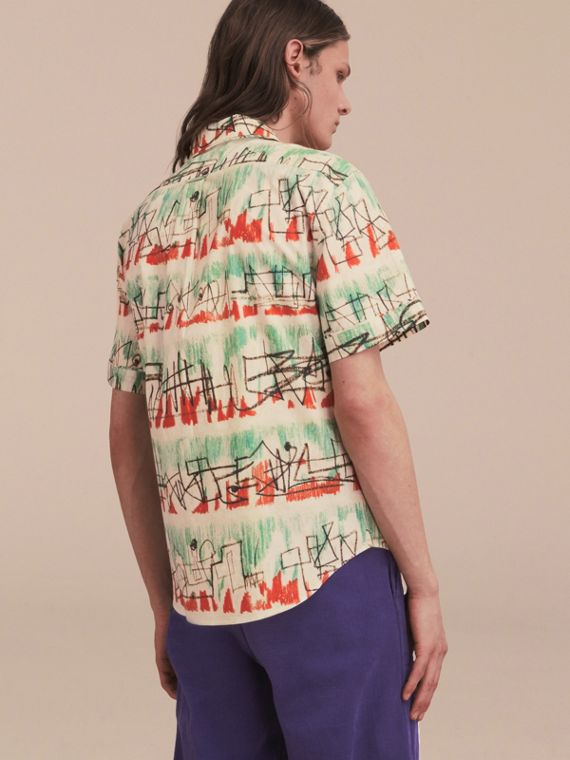 Short-sleeve Abstract Lines Print Cotton Shirt - cell image 2
