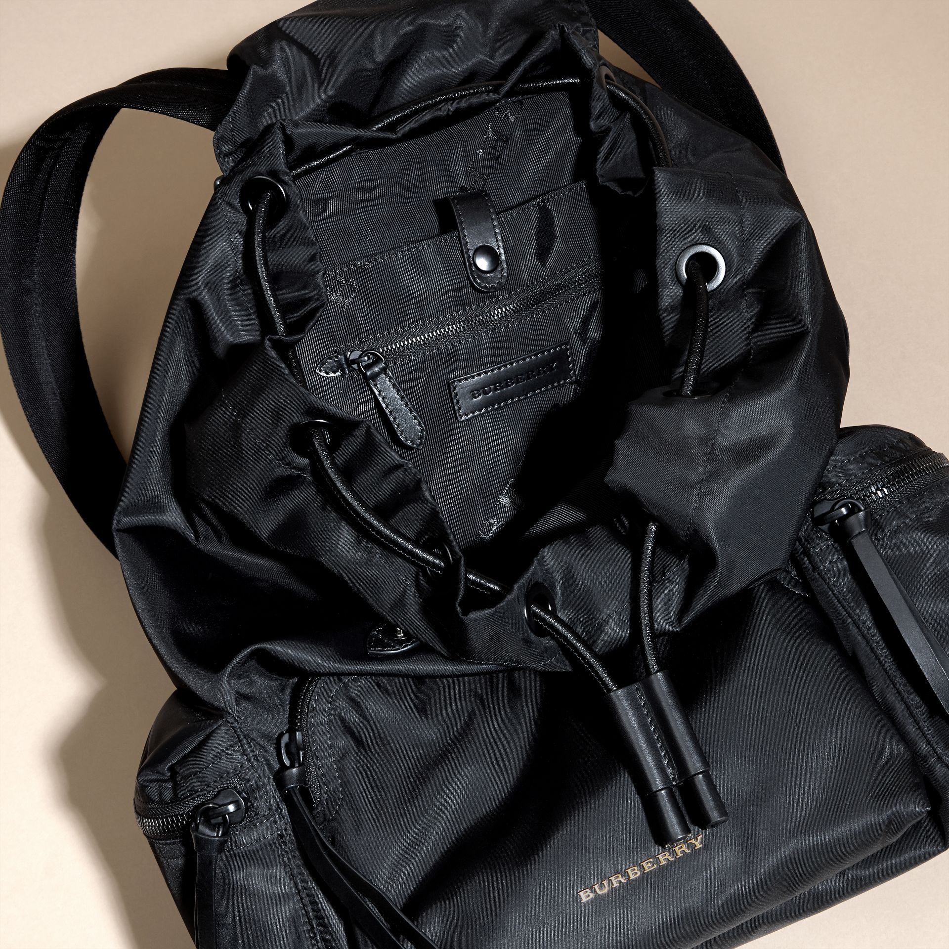 The Large Rucksack in Technical Nylon and Leather in Black - gallery image 6