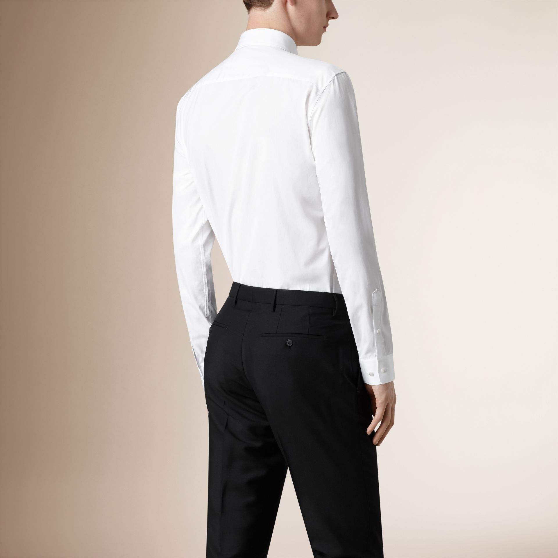 Modern Fit Cotton Poplin Shirt in White - Men | Burberry United States - gallery image 1