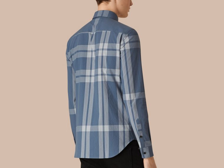 Lupine blue Textured Check Cotton Shirt Lupine Blue - cell image 1