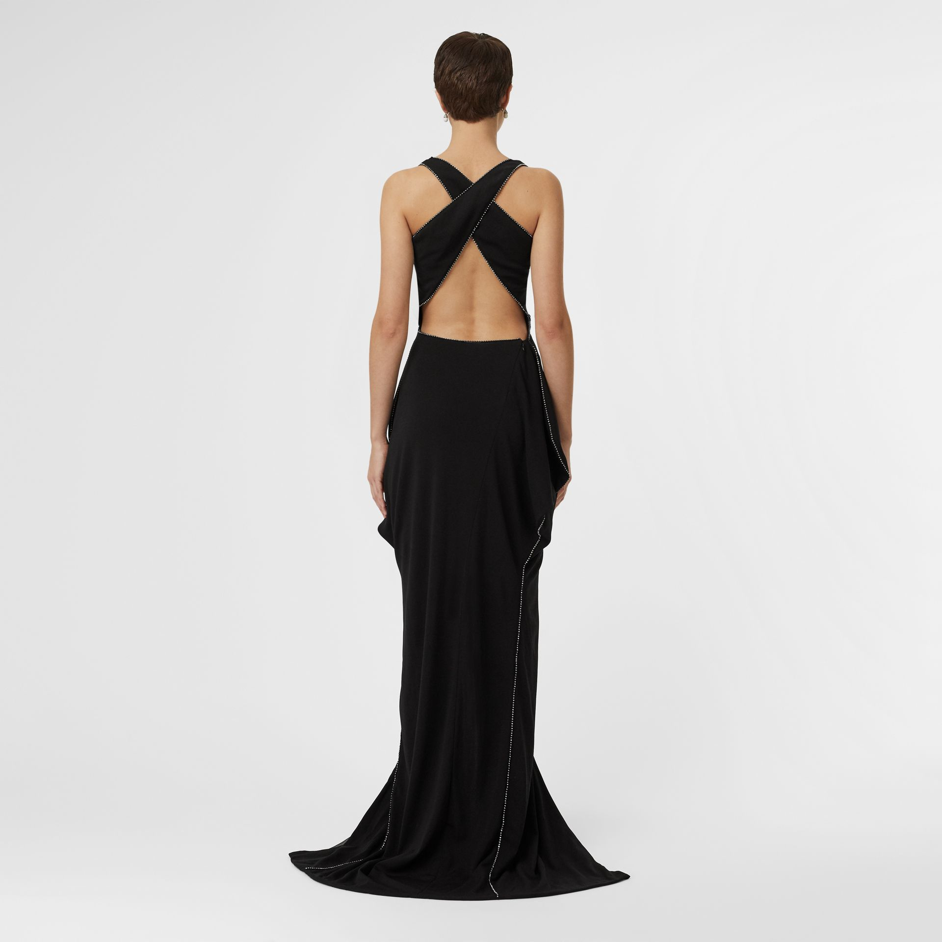 Crystal Detail Cut-out Stretch Jersey Gown in Black - Women | Burberry - gallery image 2