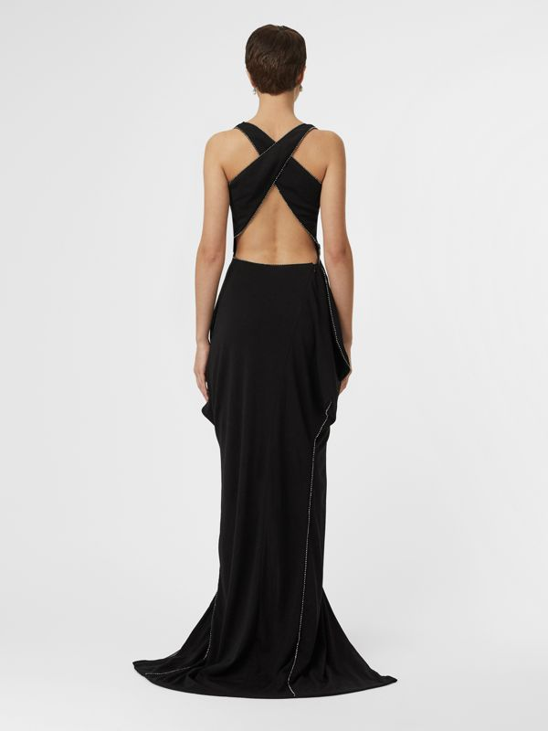 Crystal Detail Cut-out Stretch Jersey Gown in Black - Women | Burberry - cell image 2