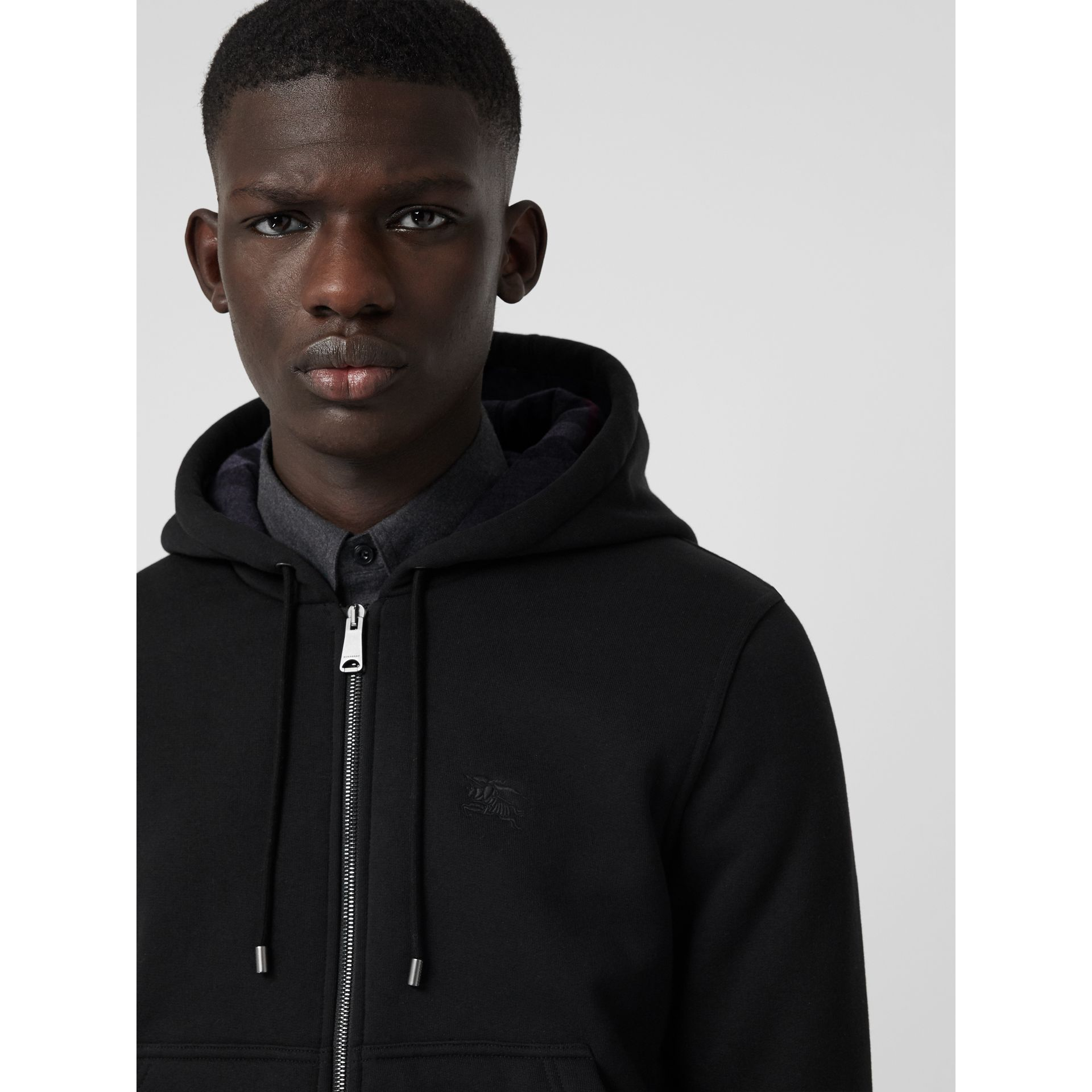 Check Detail Jersey Hooded Top in Black - Men | Burberry Canada - gallery image 1