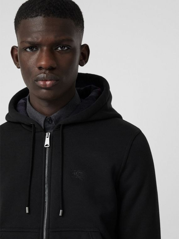 Check Detail Jersey Hooded Top in Black