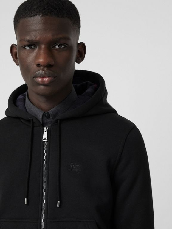 Check Detail Jersey Hooded Top in Black - Men | Burberry United Kingdom - cell image 1