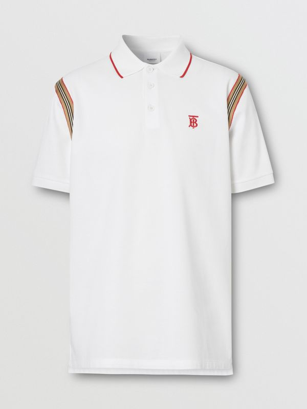 Icon Stripe Trim Monogram Motif Cotton Polo Shirt in White - Men | Burberry - cell image 3
