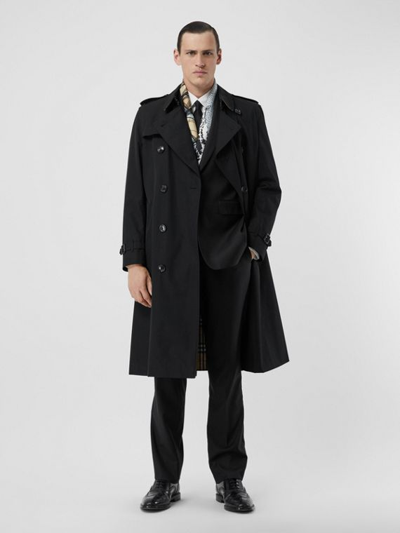 The Long Kensington Heritage Trench Coat in Black