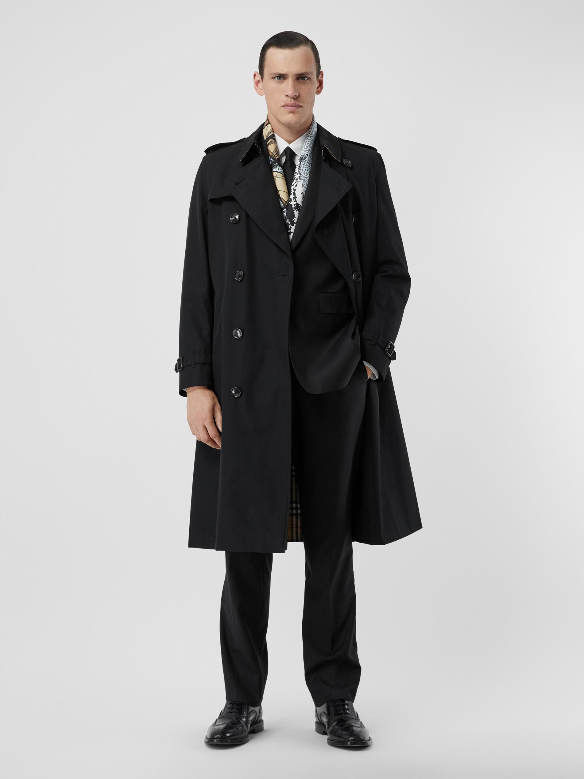 帽衫_肯辛顿版型 – 长款 Heritage Trench 风衣 (黑色) - 男士 | Burberry 博柏利