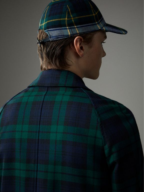 Reversible Tartan Wool and Cotton Gabardine Car Coat in Navy - Men | Burberry - cell image 1