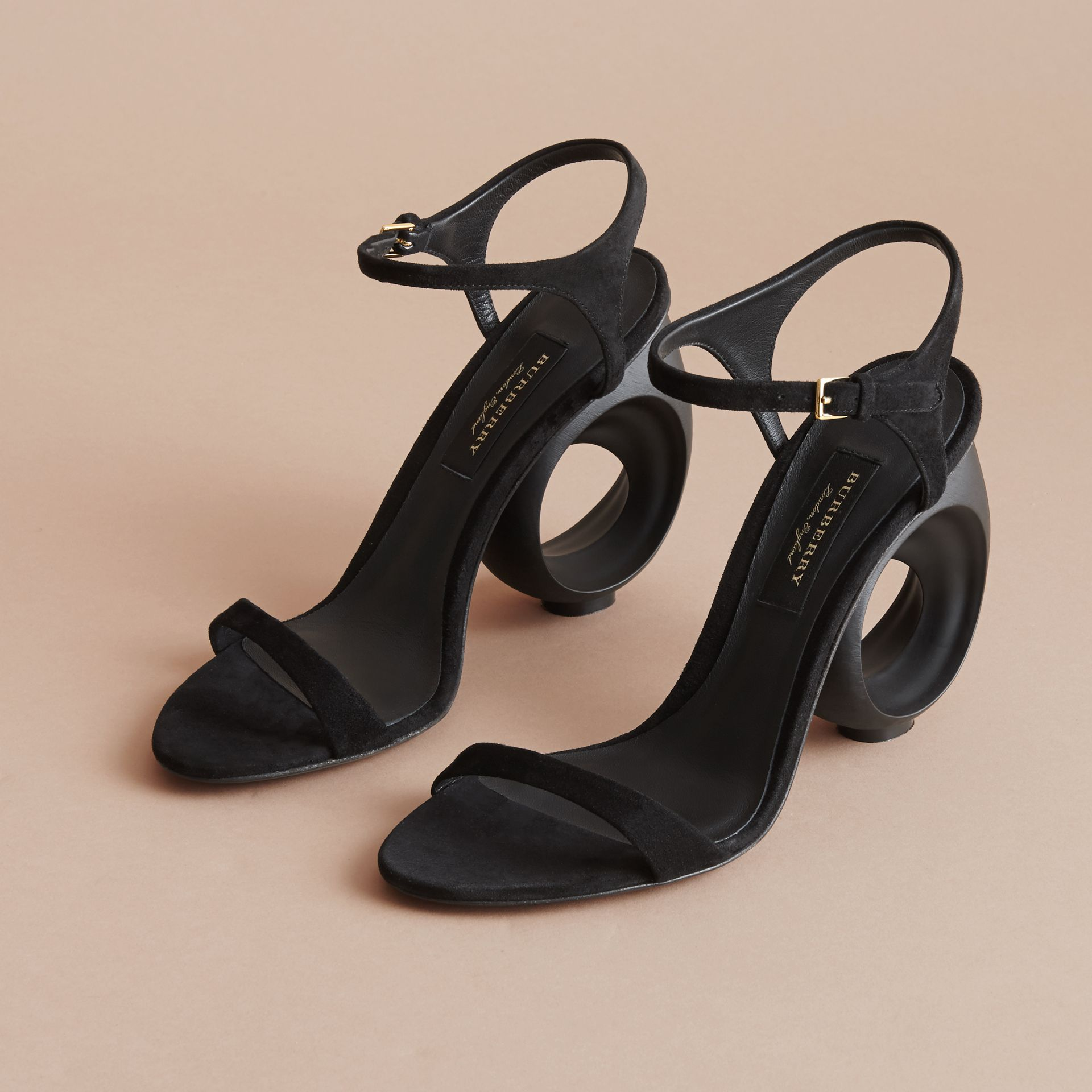 Sculpted Heel Suede Sandals - Women | Burberry - gallery image 5