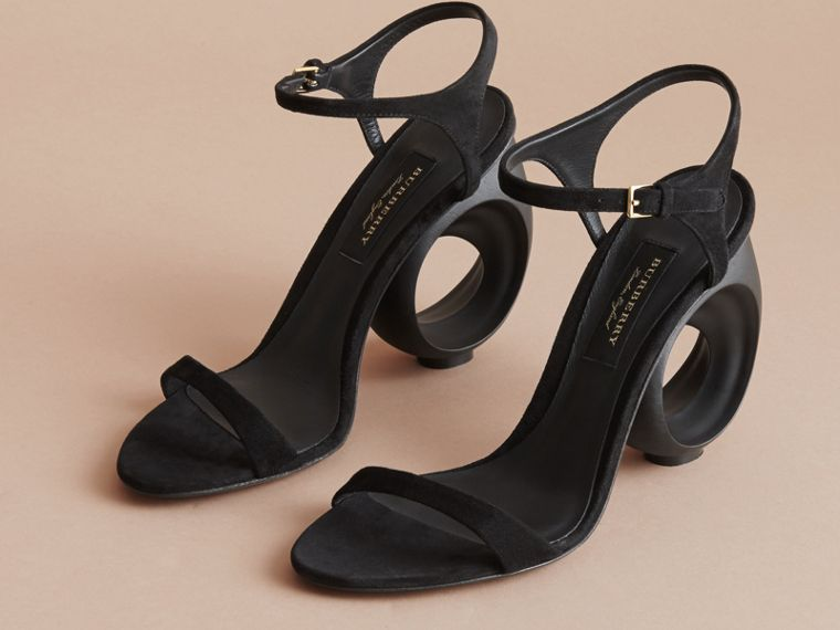 Sculpted Heel Suede Sandals in Black - Women | Burberry Canada - cell image 4