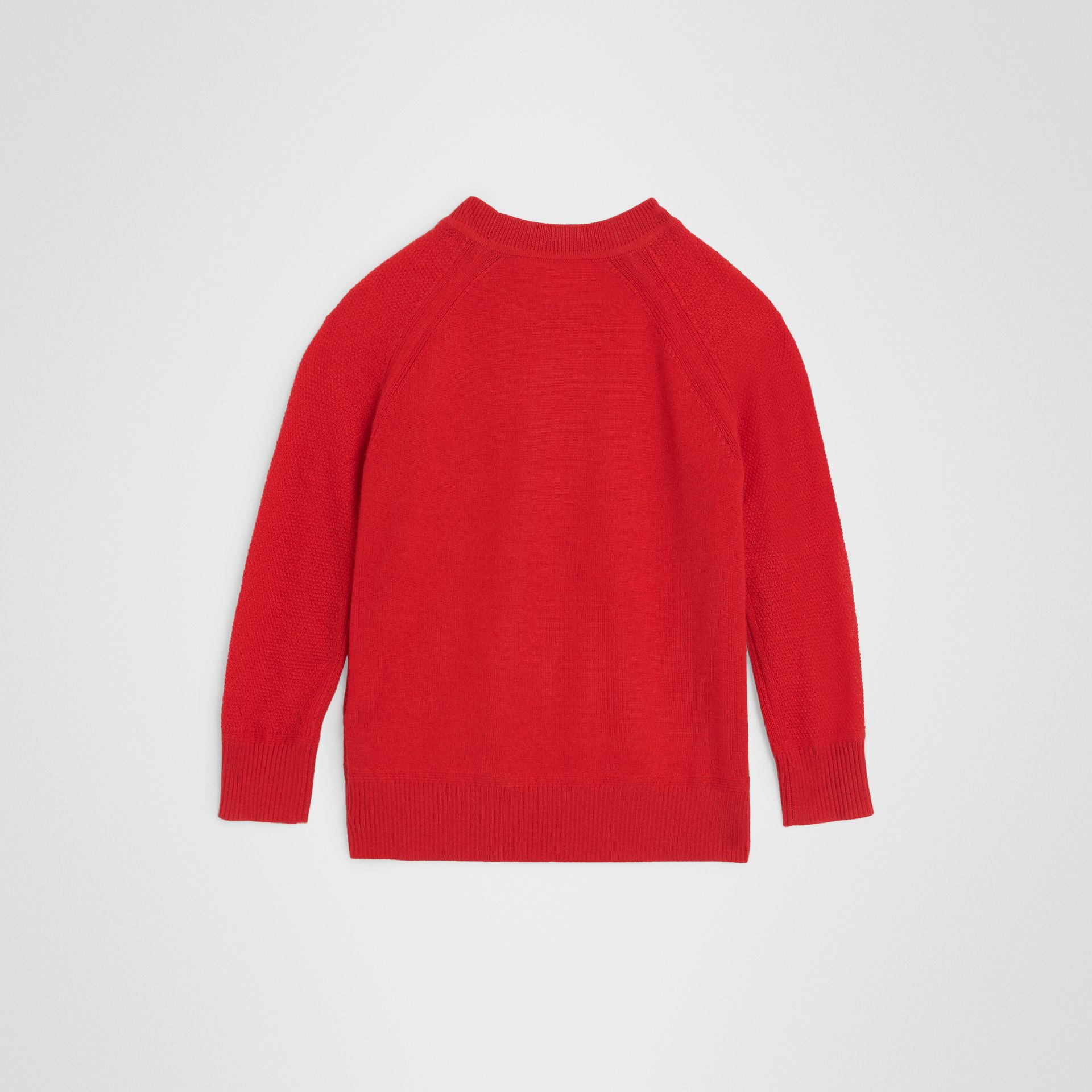 Crew Neck Cashmere Sweater in Burgundy Red | Burberry - gallery image 3