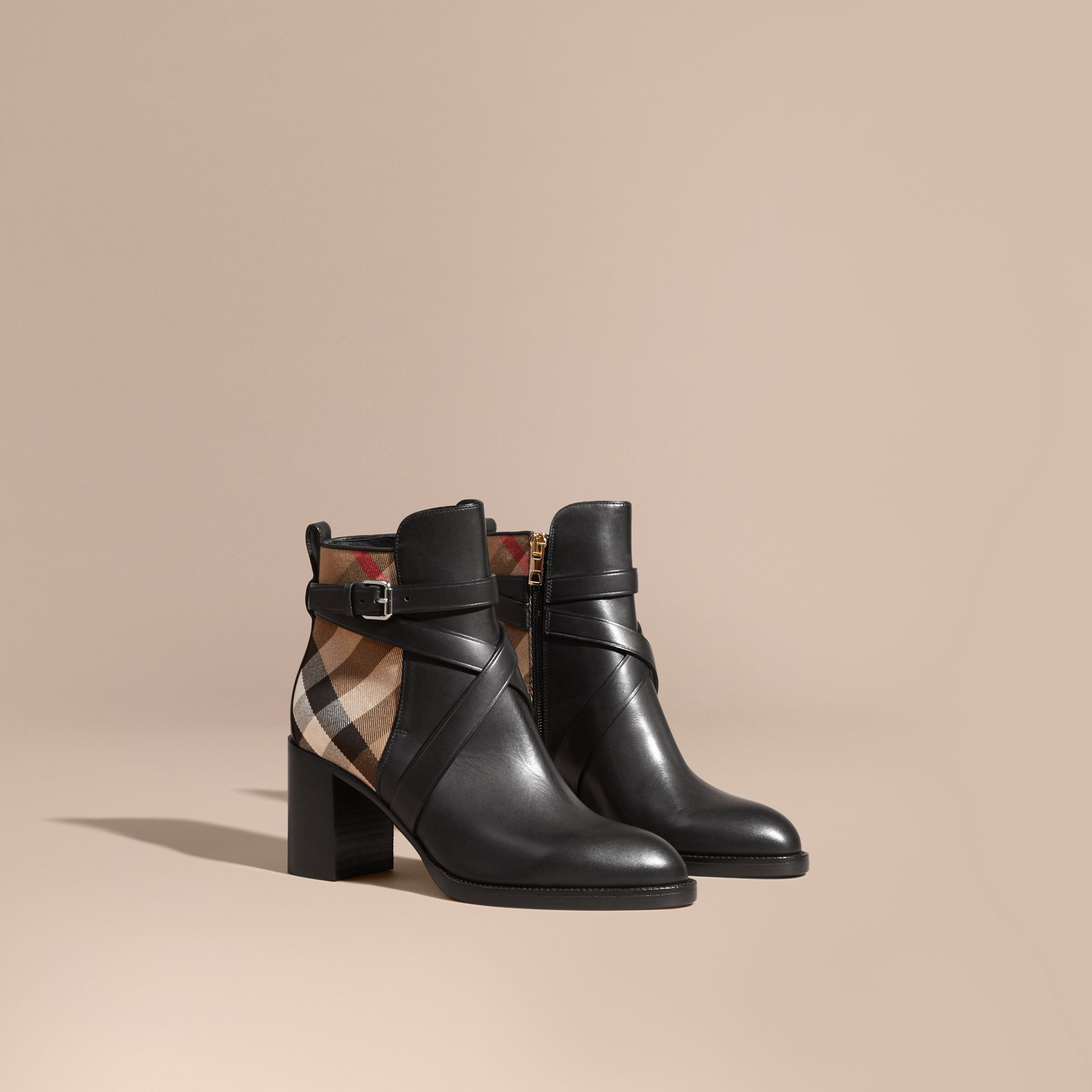House Check and Leather Ankle Boots in Black - Women | Burberry - gallery image 0