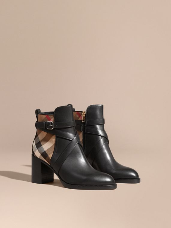 House Check and Leather Ankle Boots Black