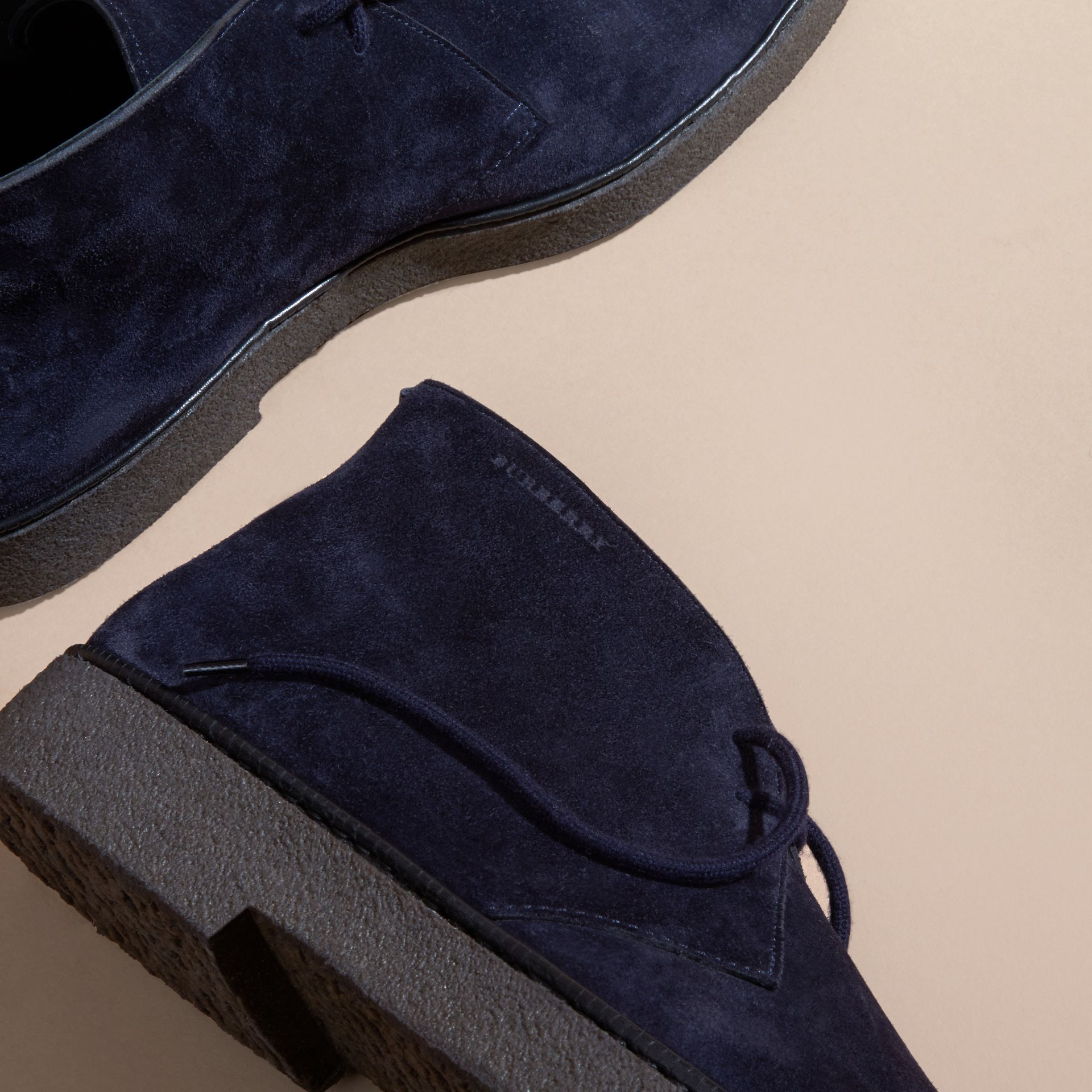 Crepe Sole Suede Desert Boots in Navy - gallery image 2