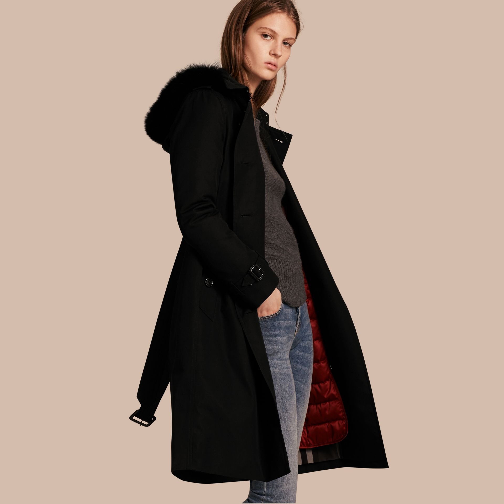 Black Fur-trimmed Hood Trench Coat with Detachable Warmer Black - gallery image 1