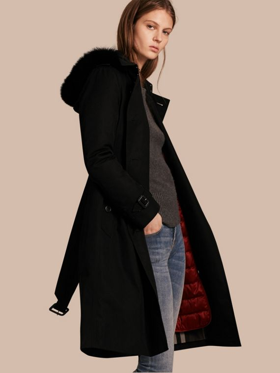 Fur-trimmed Hood Trench Coat with Detachable Warmer Black
