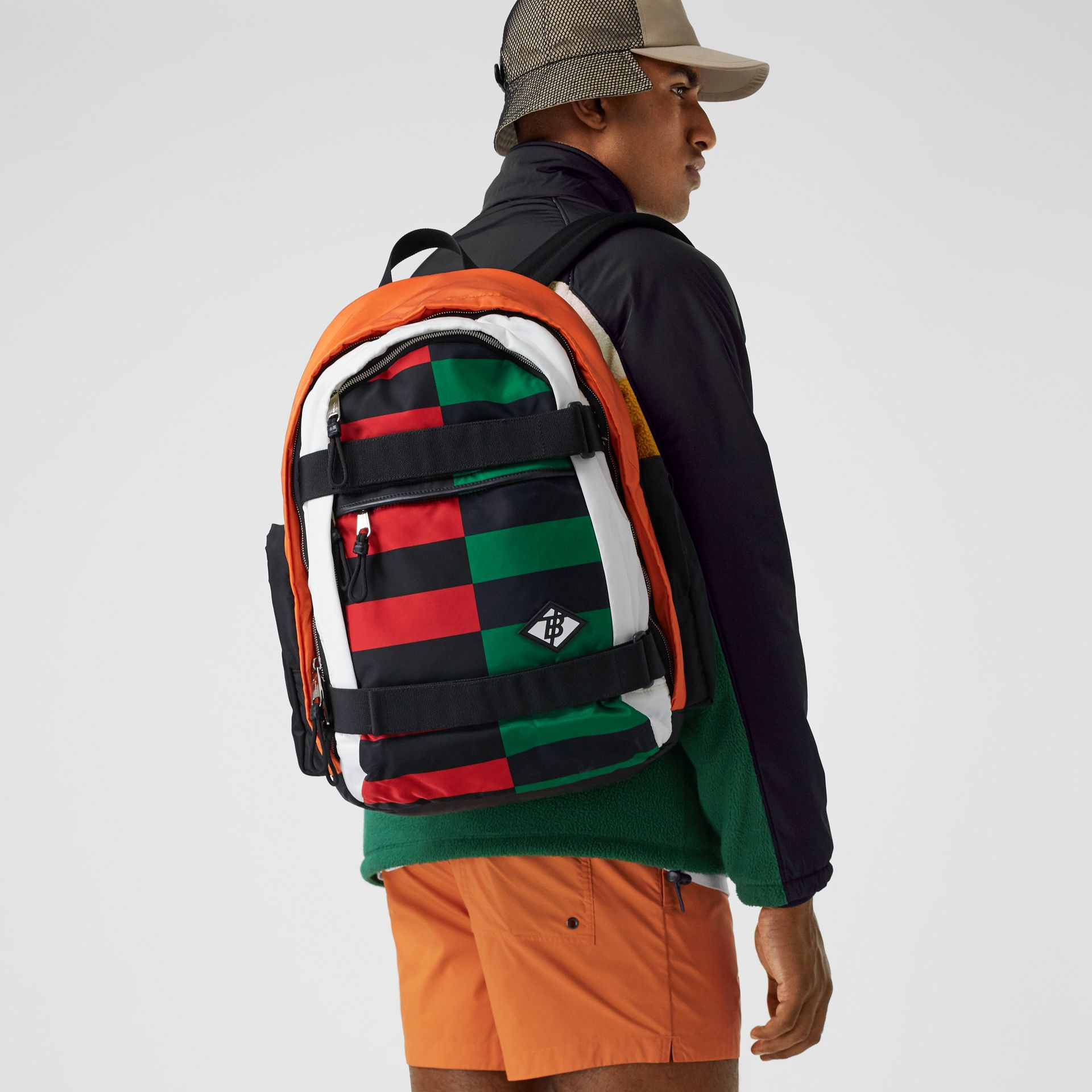 Large Colour Block ECONYL® Nevis Backpack in Military Red/green | Burberry United Kingdom - gallery image 3