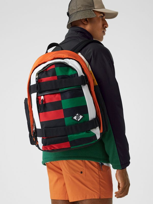 Large Colour Block ECONYL® Nevis Backpack in Military Red/green | Burberry United Kingdom - cell image 3
