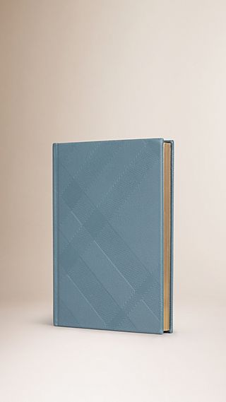 Check-embossed Leather A5 Hardbound Notebook