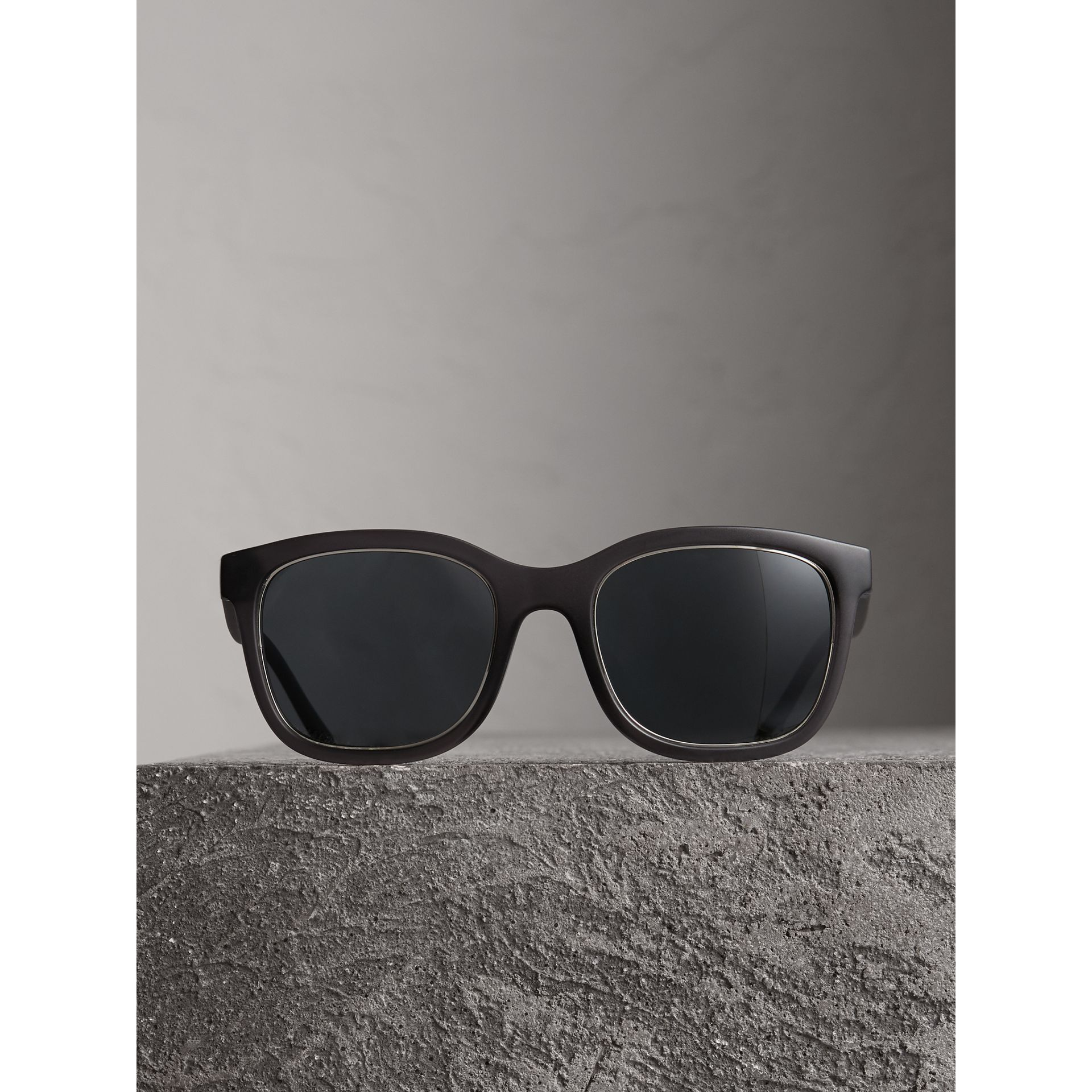 Embossed Check Detail Square Frame Sunglasses in Dark Grey - Men | Burberry United States - gallery image 3