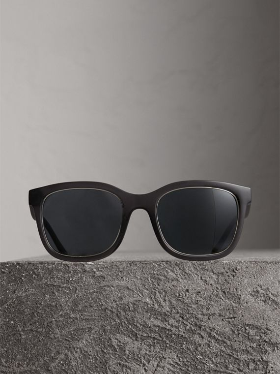 Embossed Check Detail Square Frame Sunglasses in Dark Grey - Men | Burberry - cell image 3