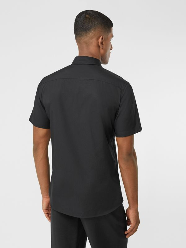 Short-sleeve Slim Fit Stretch Cotton Poplin Shirt in Black - Men | Burberry - cell image 2