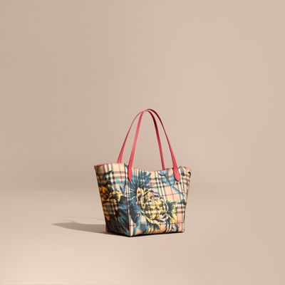 Burberry The Small Canter In Peony Rose Print Haymarket Check In Plum  Pink Pewtr Blue 742fcdc8f5dd6